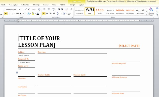 Training Lesson Plan Template Word Best Of Daily Lesson Planner Template for Word