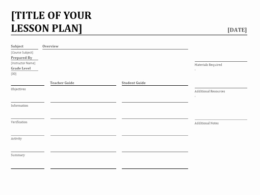 Training Lesson Plan Template Word Unique Daily Lesson Planner