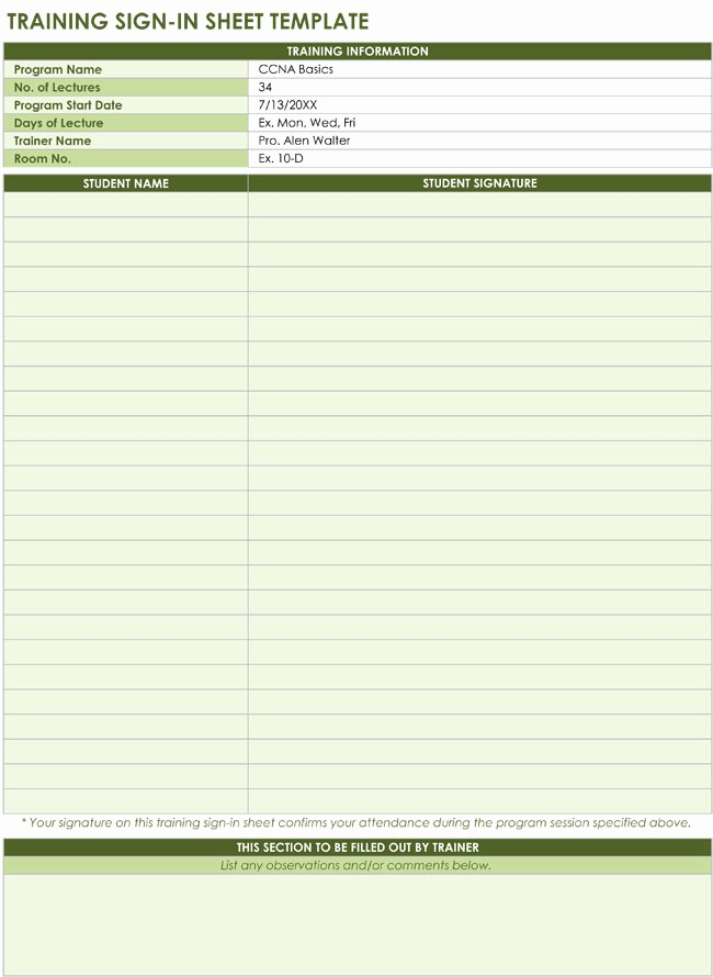 Training Sign In Sheet Excel Lovely 20 Sign In Sheet Templates for Visitors Employees Class