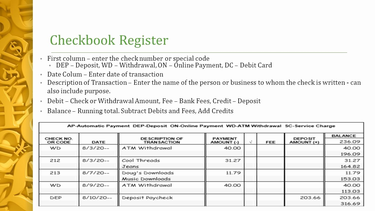 Transaction Register for Checking Account Beautiful Chapter 5 – the Banking System Lesson 5 1 Checking