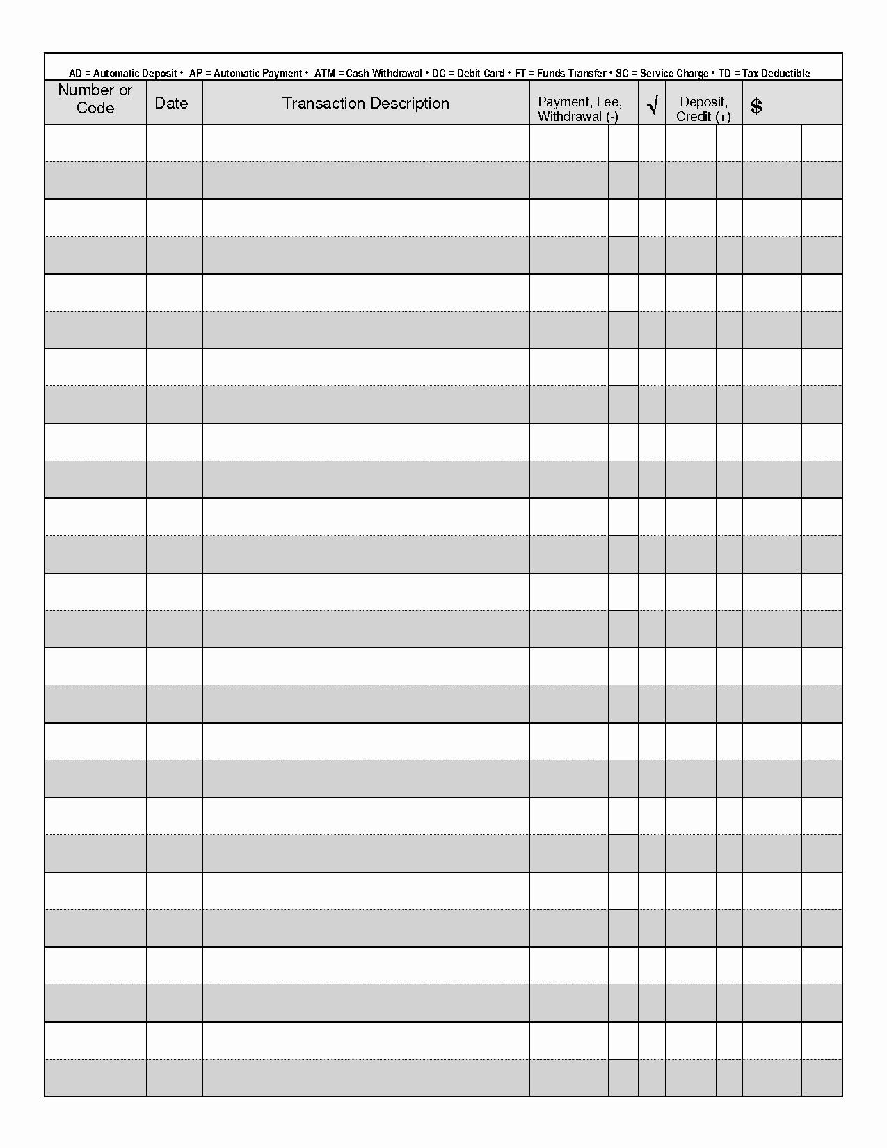 Transaction Register for Checking Account Elegant 7 Best Of Free Printable Check Transaction Register