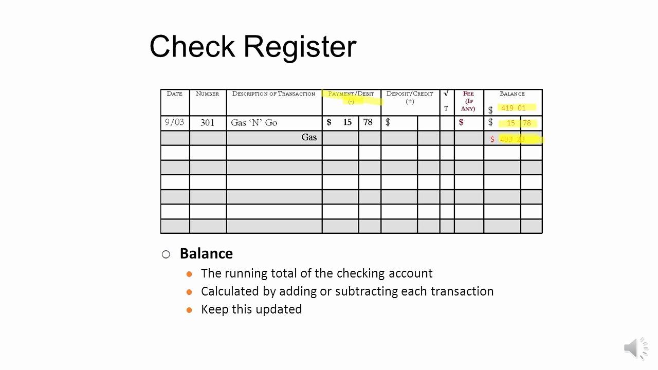Transaction Register for Checking Account Fresh Checking Account Register Ppt