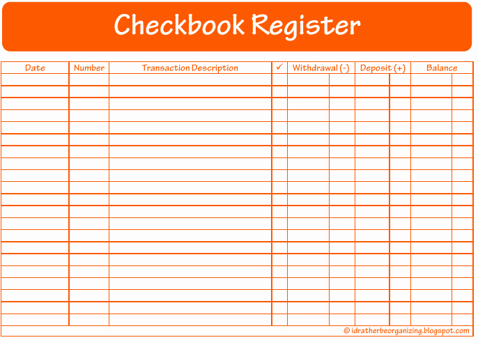 Transaction Register for Checking Account Inspirational I D Rather Be organizing 52 Weeks Of Printables Week 12