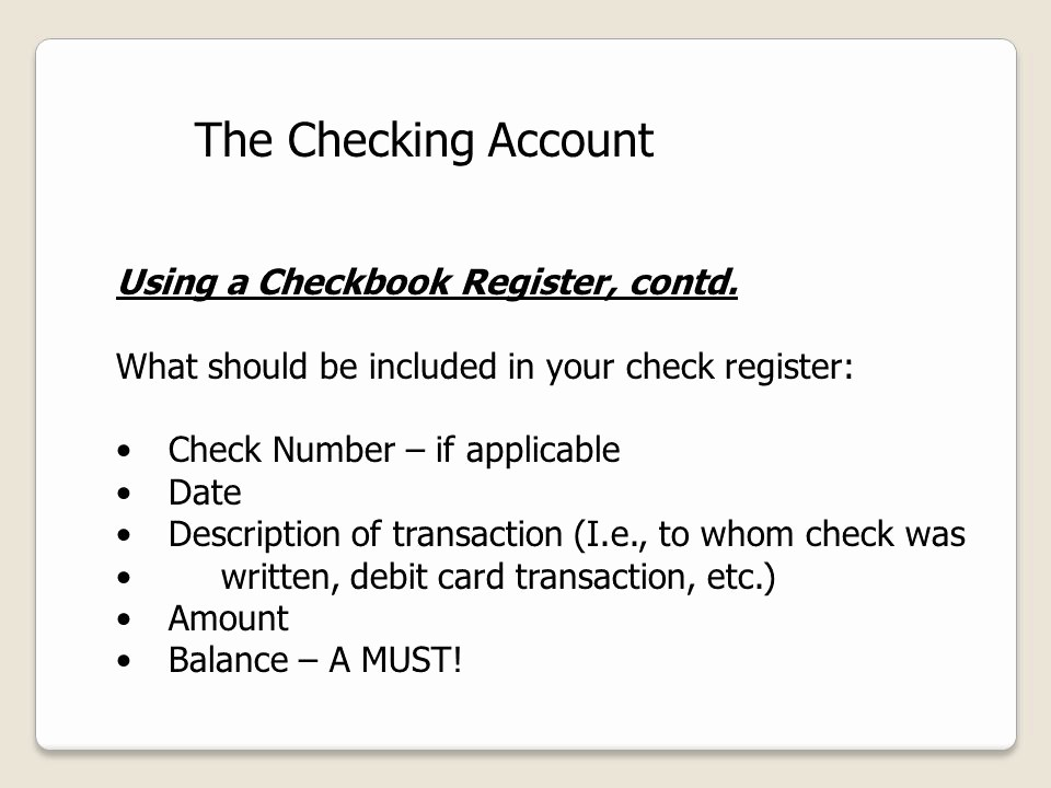 Transaction Register for Checking Account New Money On Demand the Checking Account Ppt Video Online