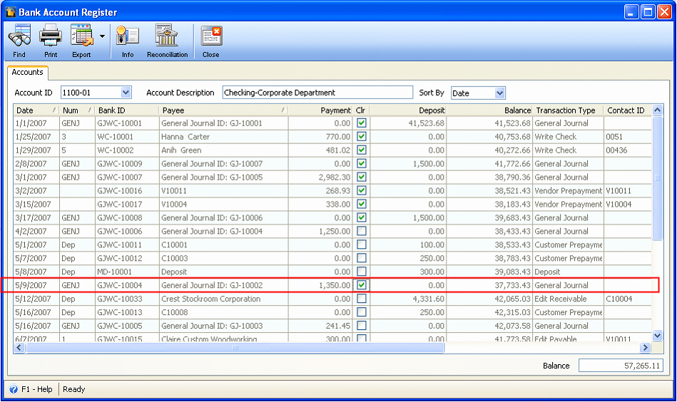 Transaction Registers for Checking Accounts Lovely Reconcileunreconcile Transactions In Bank Account Register