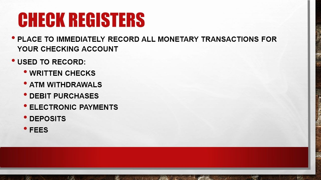 Transaction Registers for Checking Accounts Luxury Checking Accounts Unit 1 Lesson Ppt