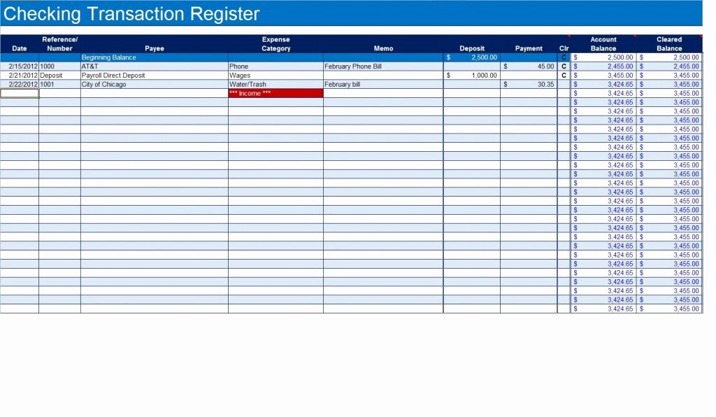 Transaction Registers for Checking Accounts New How to Create A Checkbook Register In Excel