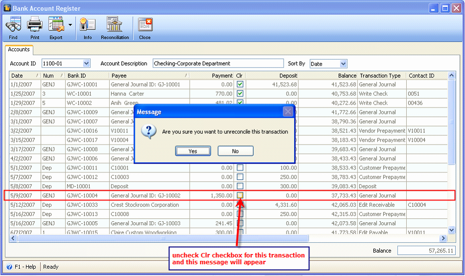 Transaction Registers for Checking Accounts Unique Reconcileunreconcile Transactions In Bank Account Register