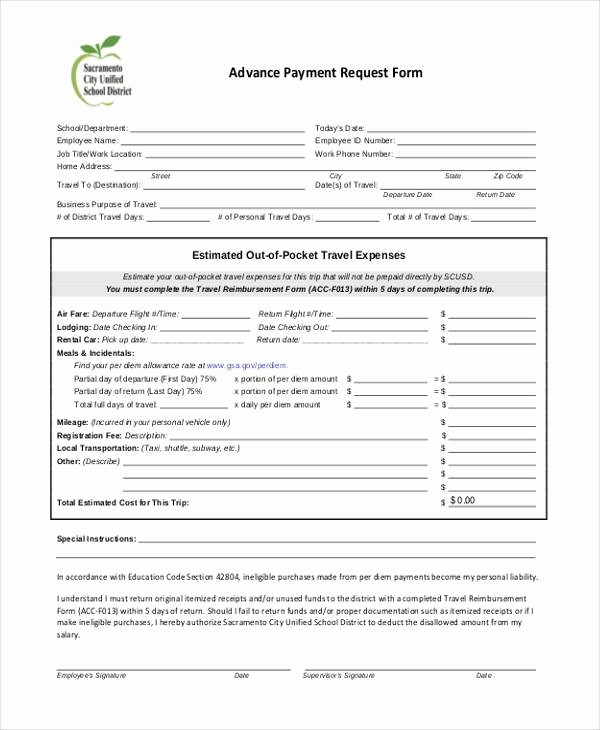 Travel Advance Request form Template Beautiful Sample Employee Advance Request forms 7 Free Documents