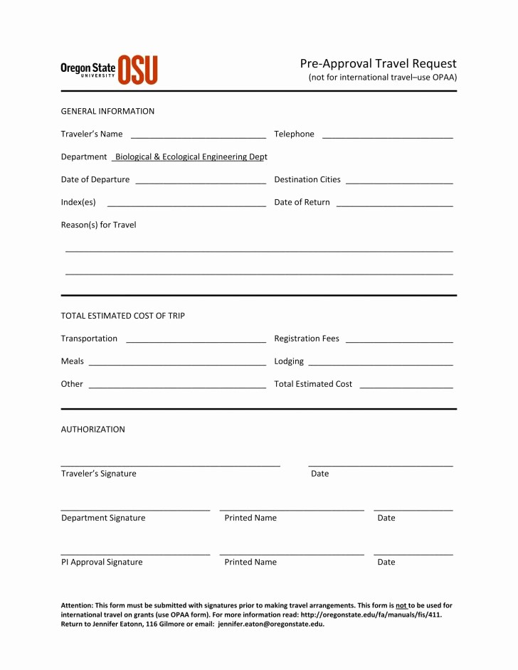 Travel Advance Request form Template Inspirational form Travel Request form