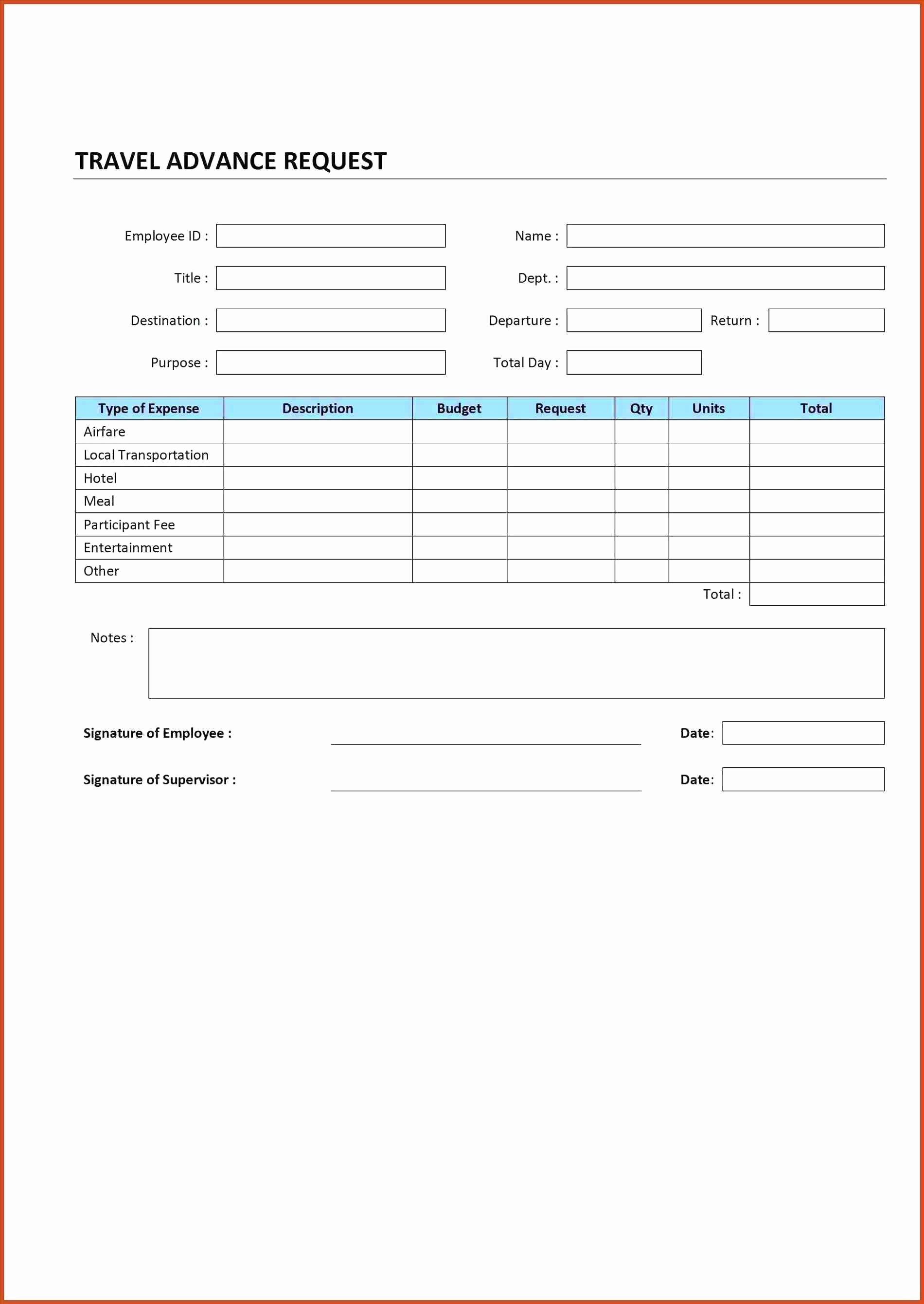 Travel Advance Request form Template Inspirational Template Report Request Template
