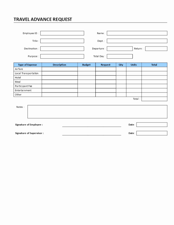 Travel Advance Request form Template Inspirational Travel Advance Request Transportation Templates