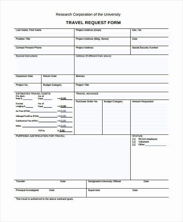 Travel Advance Request form Template Inspirational Travel Request form Template
