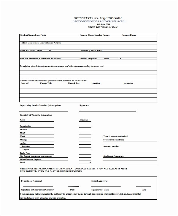 Travel Advance Request form Template Lovely 10 Travel Request forms