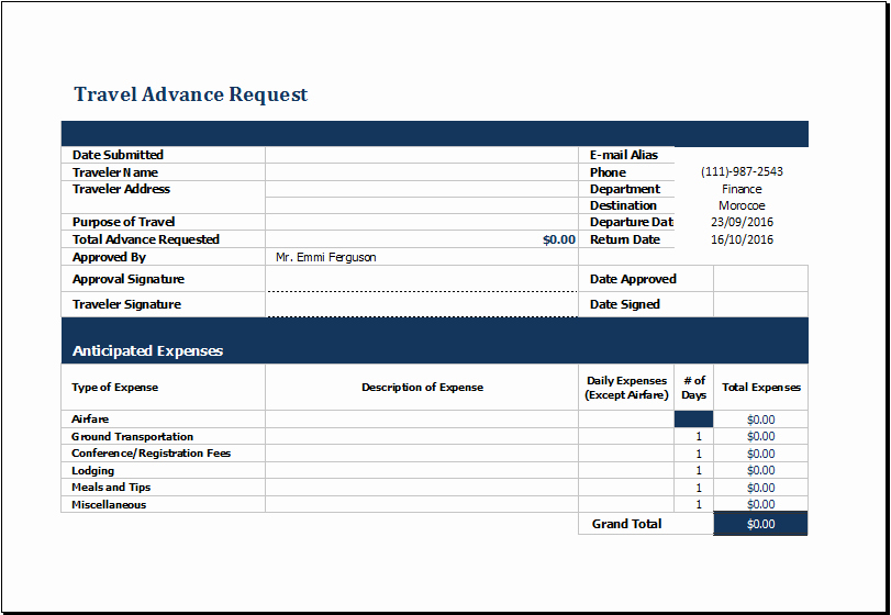 Travel Advance Request form Template Luxury Ms Excel Travel Advance Request form Template