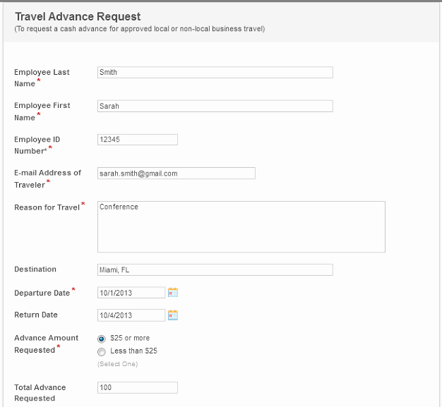 Travel Advance Request form Template New Travel Request Automation Sanitation District 1