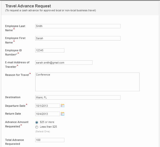 Travel Advance Request form Template New Travel Request Automation Sanitation District 1