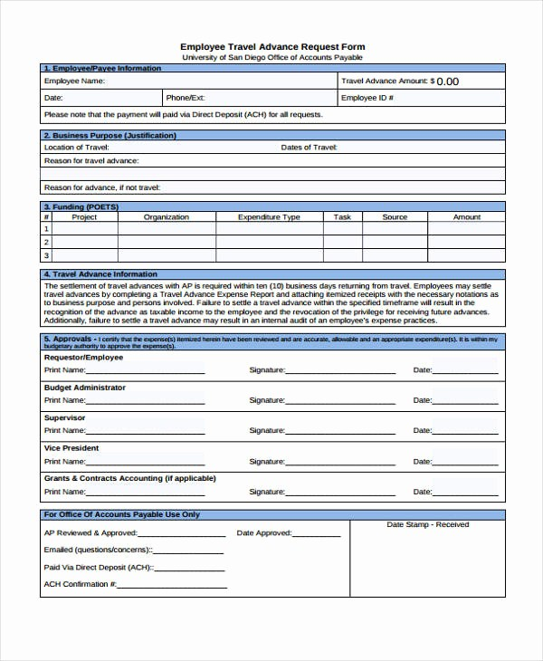 Travel Advance Request form Template New Travel Request form Template