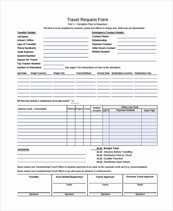 Travel Advance Request form Template Unique 10 Travel Request forms