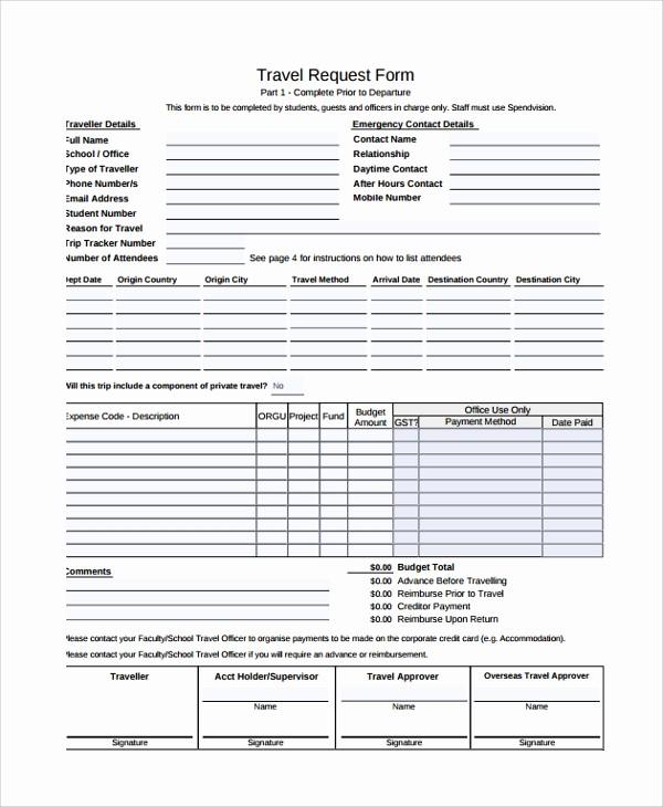 Travel Advance Request form Template Unique 10 Travel Request forms