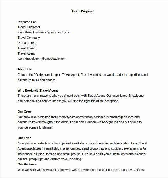 Travel Agent Letter to Client Inspirational 32 Business Proposal Templates Doc Pdf
