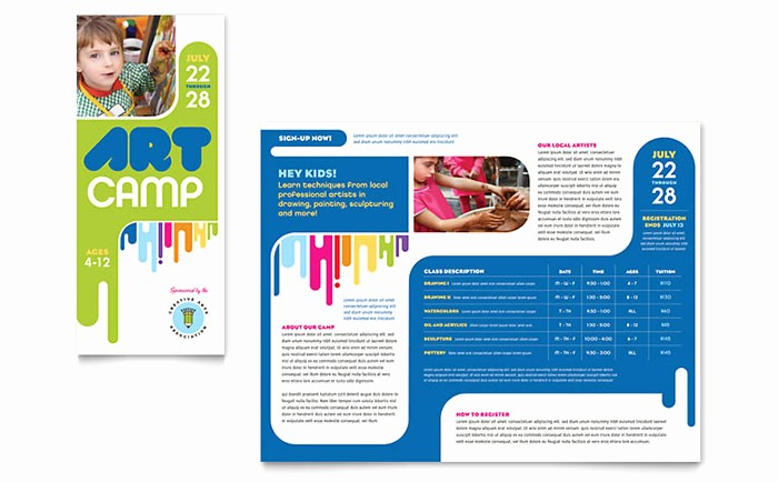 Travel Brochure Template for Kids Fresh Kids Art Camp Brochure Template Word & Publisher