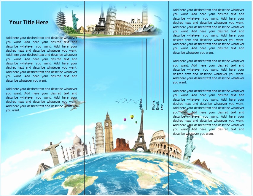 Travel Brochure Template for Kids Lovely Printable Travel Brochure Template for Kids