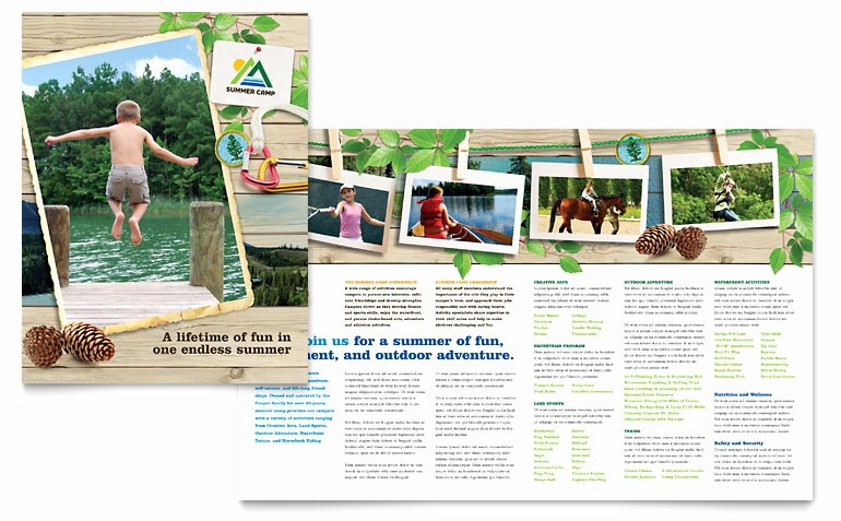 Travel Brochure Template for Kids Unique Kids Summer Camp Brochure Template Word & Publisher