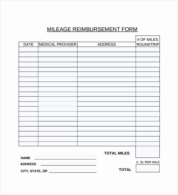 Travel Expense Reimbursement form Template Beautiful 9 Mileage Reimbursement form Download for Free