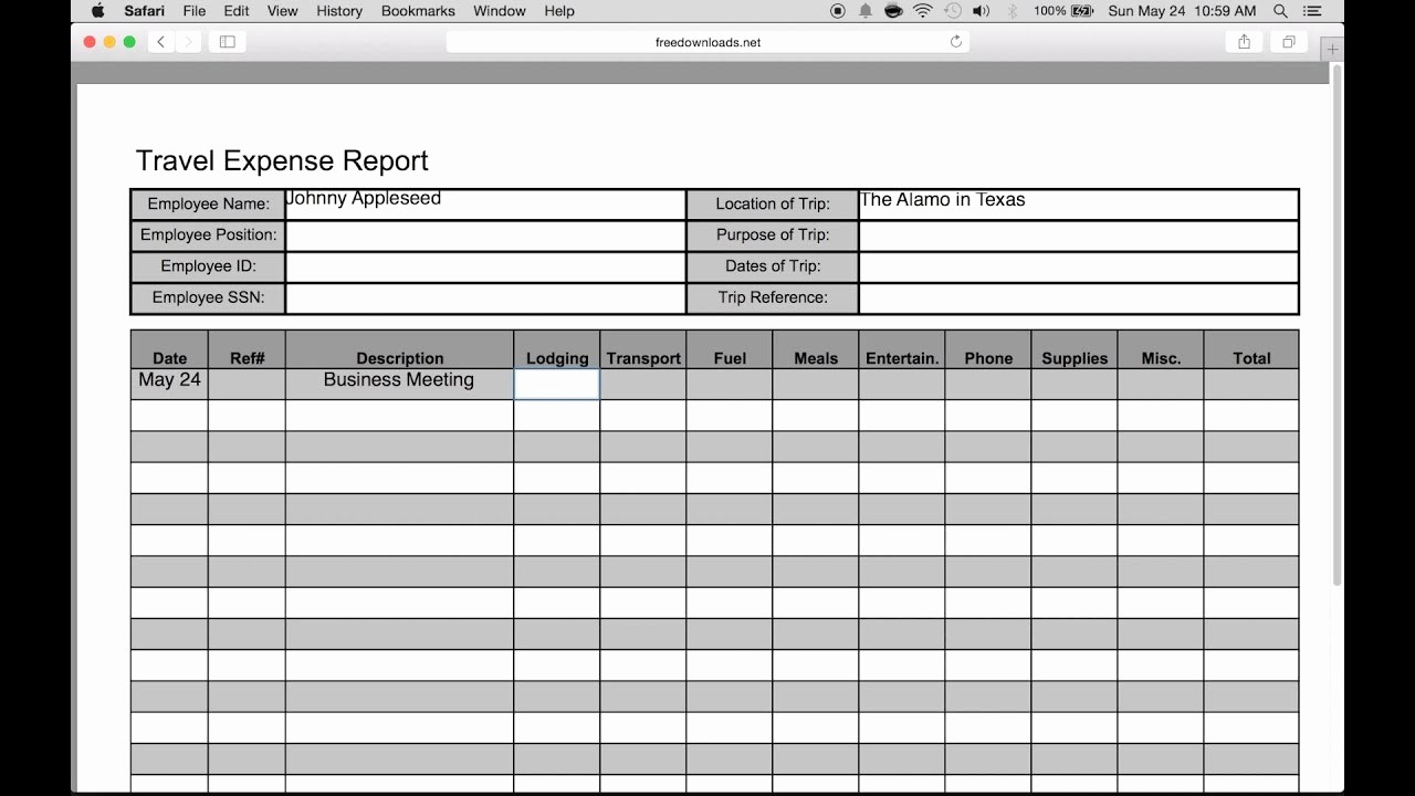 Travel Expense Reimbursement form Template Best Of How to Fill In A Free Travel Expense Report Pdf