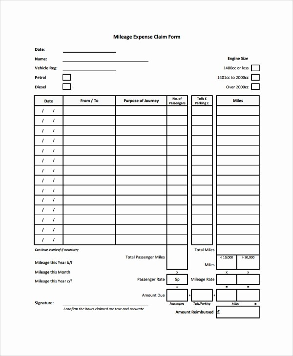 Travel Expense Reimbursement form Template Lovely 8 Sample Expense forms