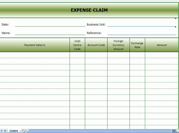 Travel Expense Reimbursement form Template Luxury Expense Claims form