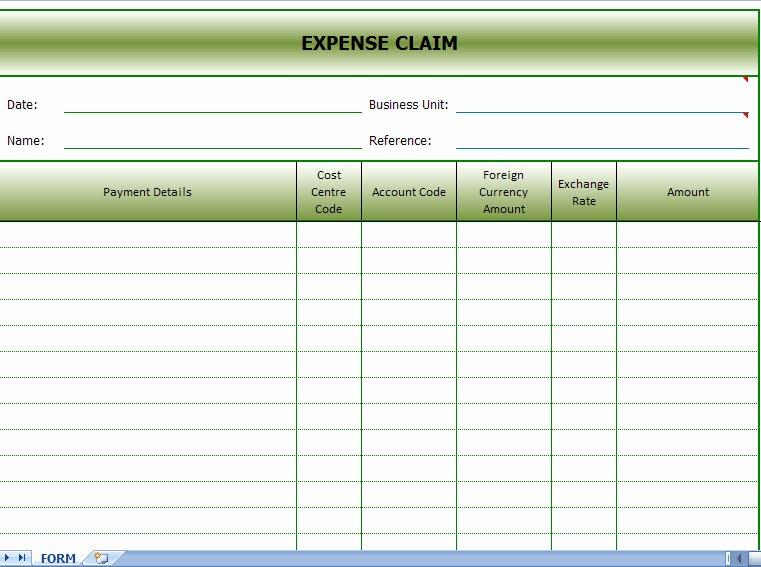 Travel Expense Reimbursement form Template Luxury Expense Claims form