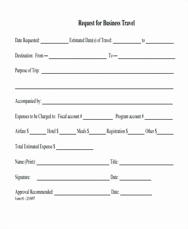 Travel Request form Template Excel Beautiful Business Travel Authorization form Template Request Excel
