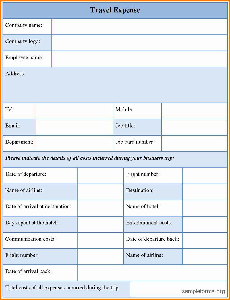 Travel Request form Template Excel Lovely 8 Travel Expense form