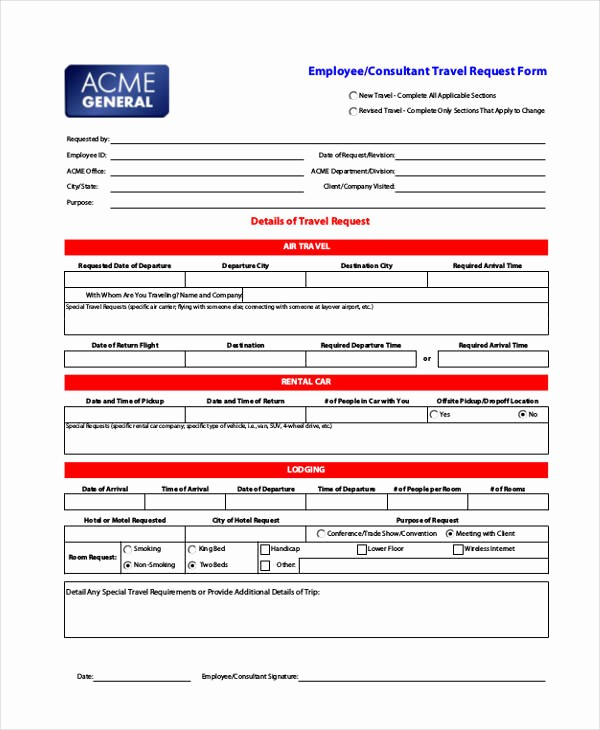 Travel Request form Template Excel Lovely Travel Request form Example