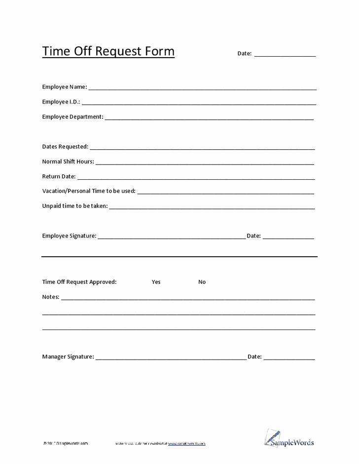 Travel Request form Template Excel New 5 Vacation Request form Templates Excel Xlts