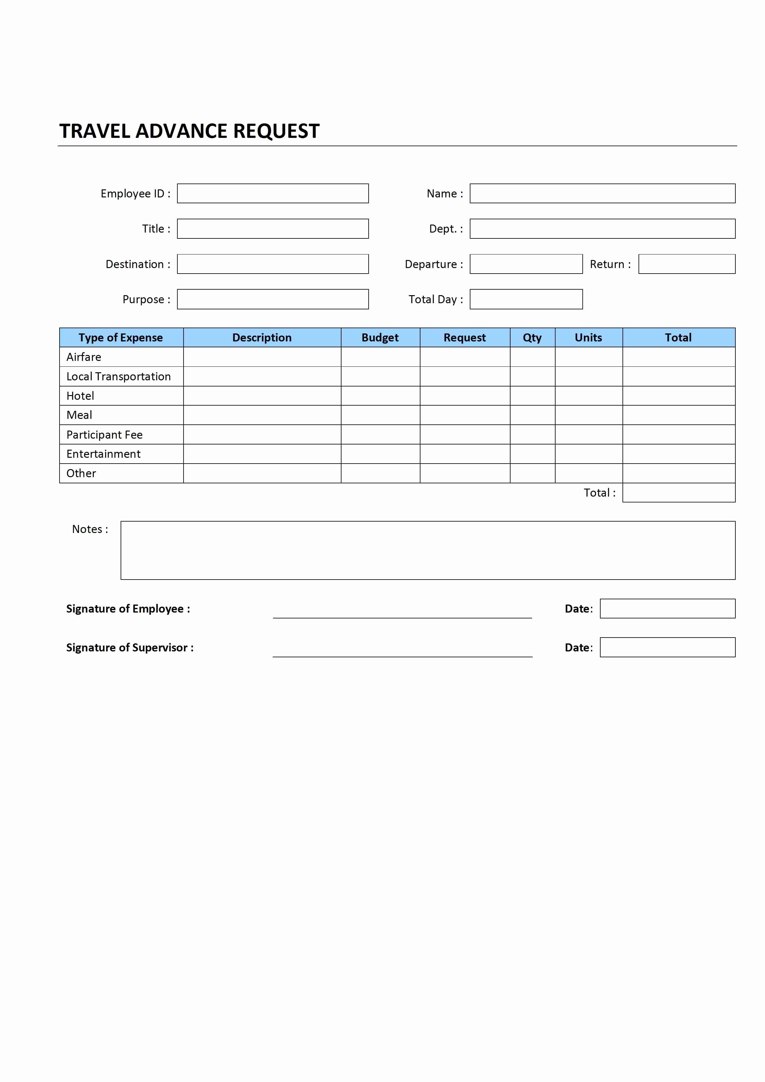 Travel Request form Template Excel New Travel Advance Request