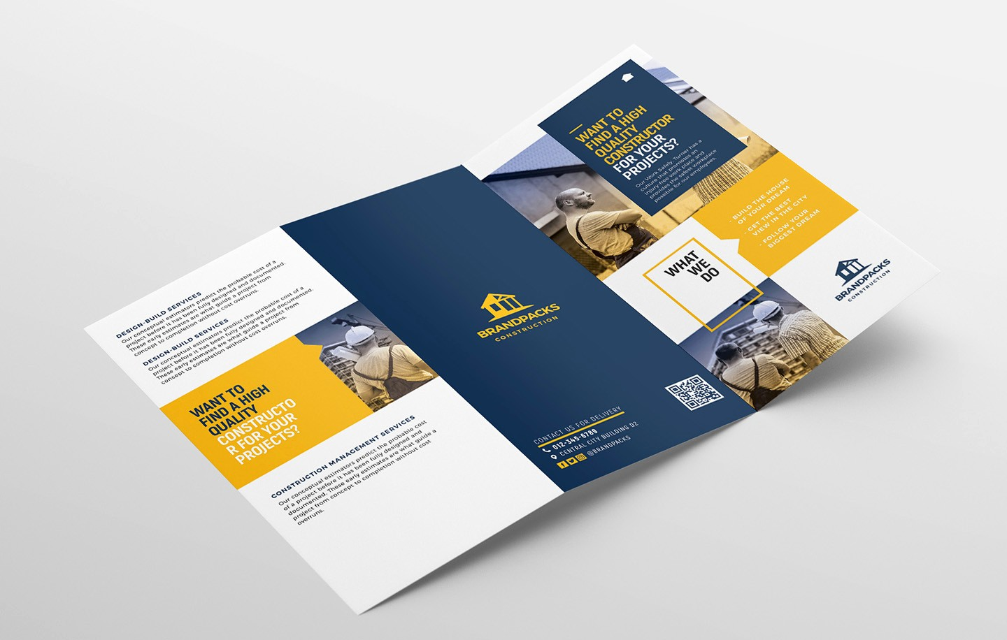 Tri-fold Brochure Examples Awesome Construction Pany Tri Fold Brochure Template In Psd Ai