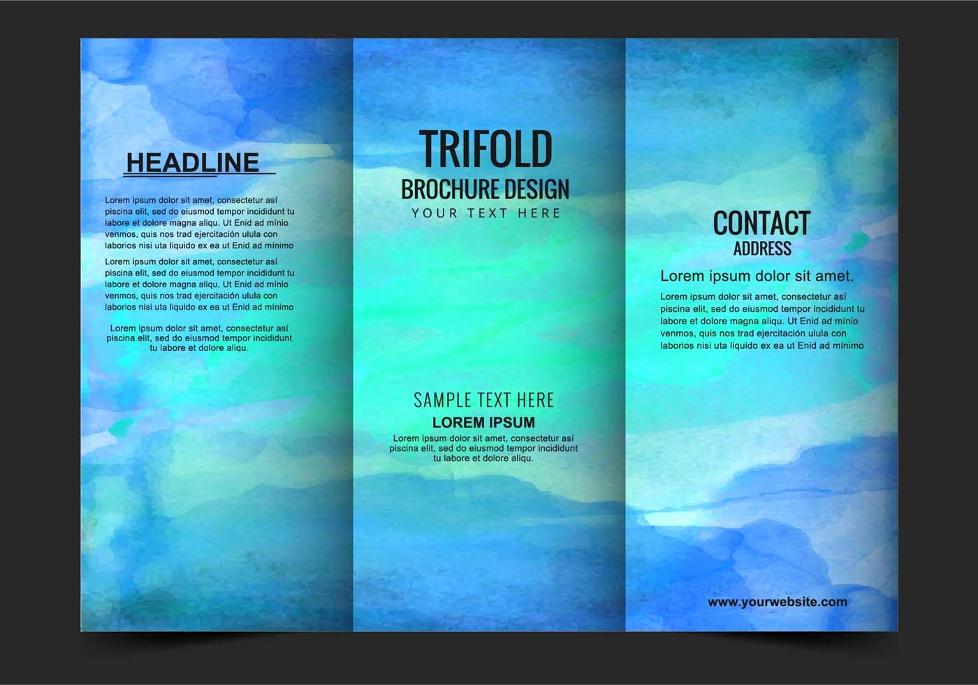 Tri-fold Brochure Examples Awesome Vector Modern Trifold Brochure Template Download Free