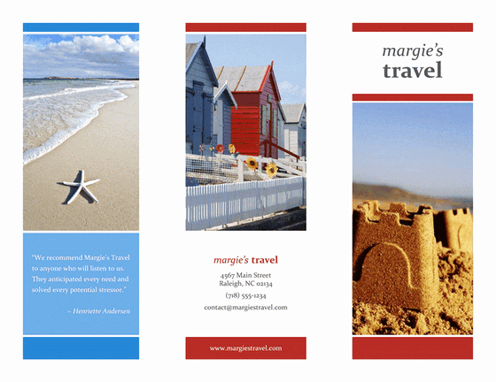 Tri Fold Brochure Template Powerpoint Fresh Tri Fold Travel Brochure Red Gold Blue Design Template