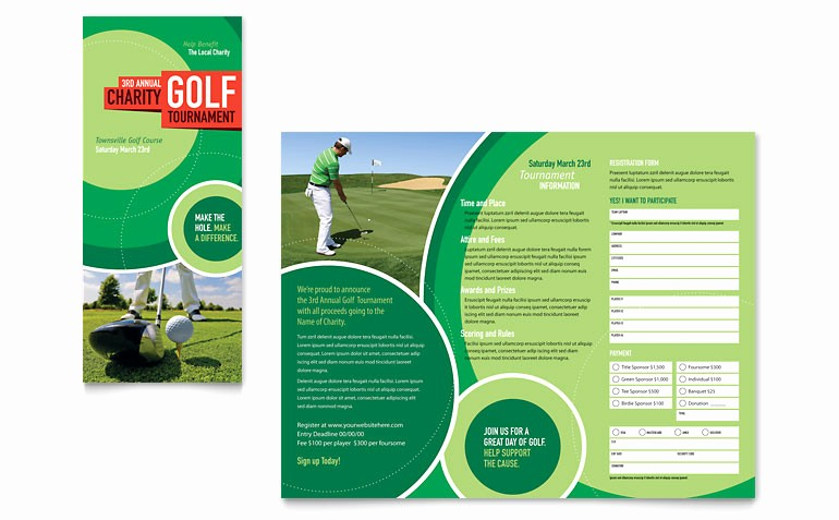 Tri Fold Brochure Template Powerpoint Luxury Golf tournament Tri Fold Brochure Template Word & Publisher
