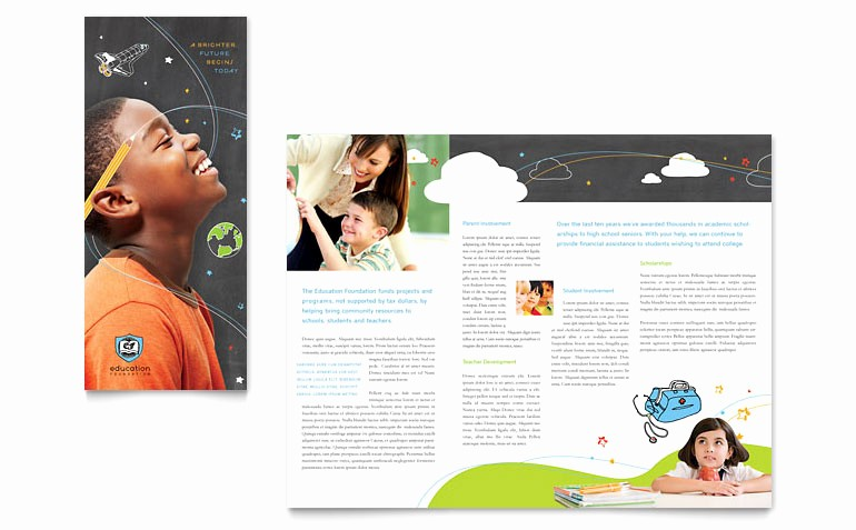 Tri Fold Brochure Template Publisher Awesome Education Foundation & School Tri Fold Brochure Template