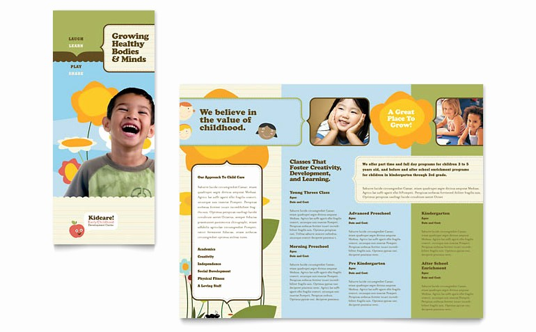 Tri Fold Brochure Template Publisher Elegant Child Development School Tri Fold Brochure Template Word