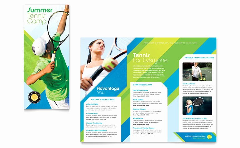 Tri Fold Brochure Template Publisher Luxury Tennis Club & Camp Tri Fold Brochure Template Word