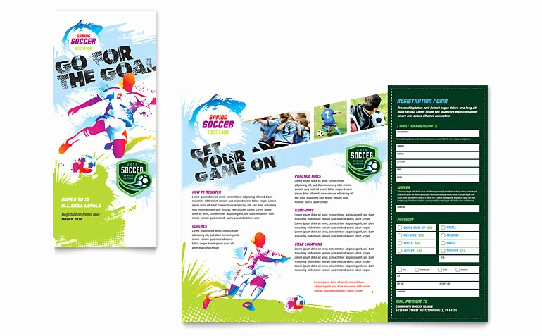 Tri Fold Brochure Template Publisher New Youth soccer Tri Fold Brochure Template Word & Publisher