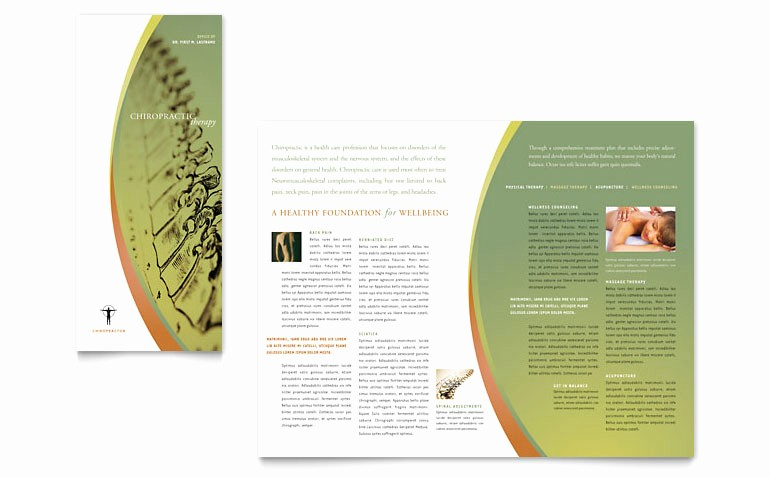 Tri Fold Brochure Word Template Beautiful Massage & Chiropractic Tri Fold Brochure Template Word