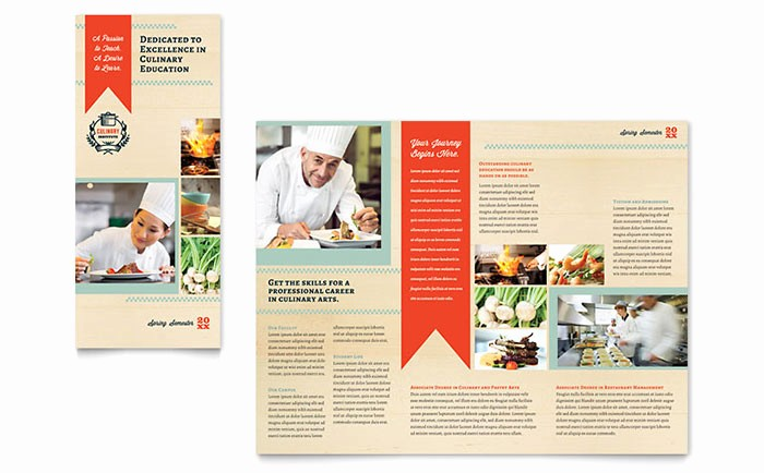 Tri Fold Brochure Word Template Unique Culinary School Tri Fold Brochure Template Word & Publisher