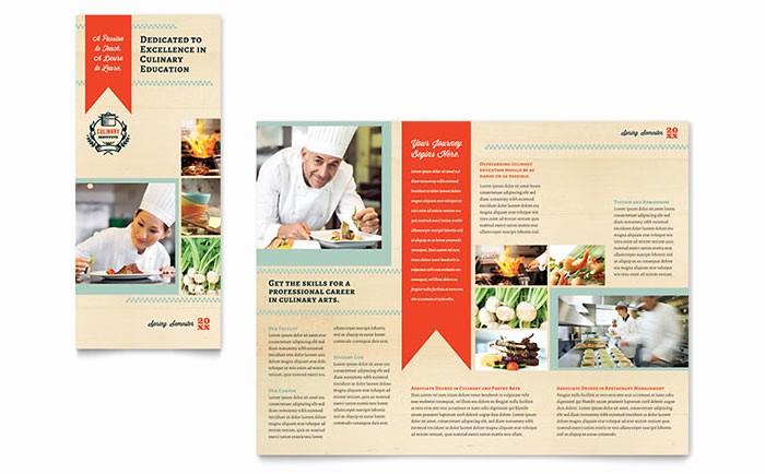 Tri Fold Brochure Word Template Unique Culinary School Tri Fold Brochure Template Word & Publisher