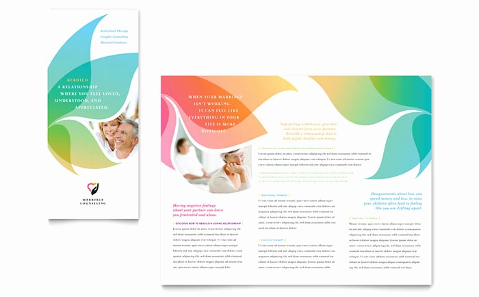 Tri Fold Template for Word Beautiful Marriage Counseling Tri Fold Brochure Template Design